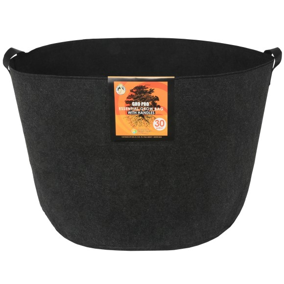 Gro Pro Essential Round Fabric Pot w/ Handles 30 Gallon - Black