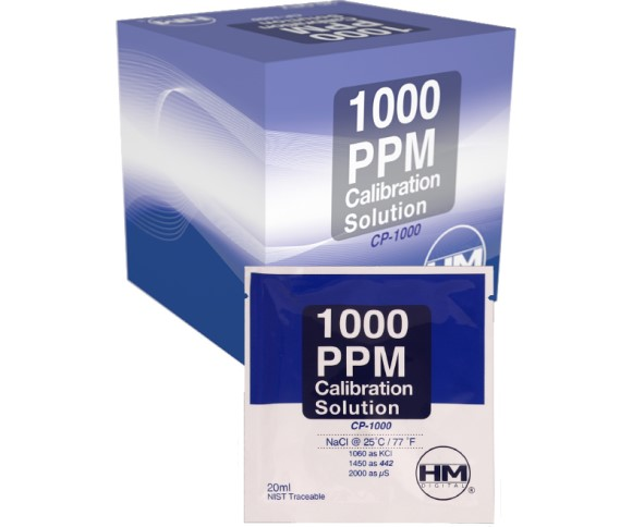 HM Digital 1000 ppm NaCl Calibration Solution, 20 ml sachets, box of 20